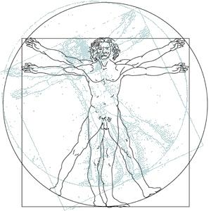 O Homem Vitruviano, criação de Da Vinci, representando o Microcosmo que se assemelha ao Macrocosmo em potencial