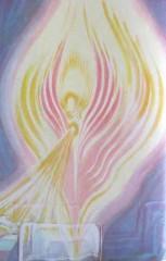 Anjo da Cura sobre um enfermo acamado. O Anjo reequilibra o Campo Áurico do enfermo, até sua cura total.