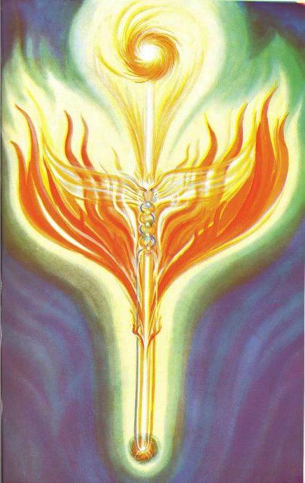 A Kundalini do Sol alimentando e dando vida abundante à Terra. Essa energia kundalínica é administrada pelos 8 Kabires