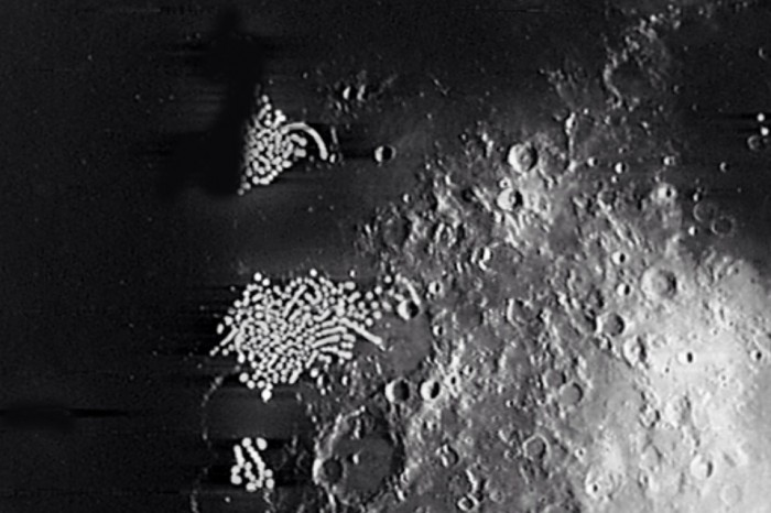 Que estranhas estruturas seriam estas, fotografadas em solo lunar?