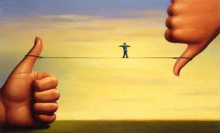 Tightrope Between Thumbs